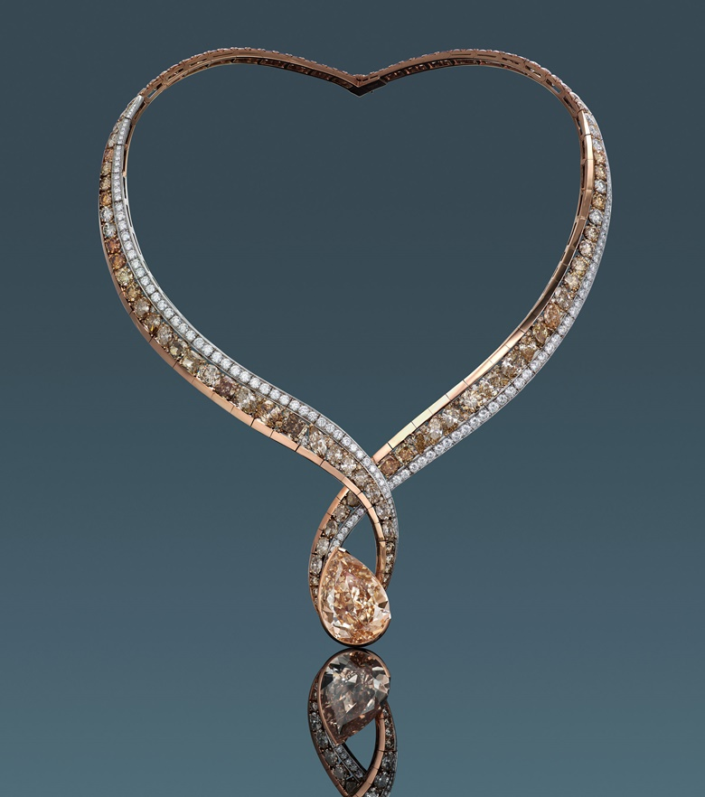 A 27.02 carat Fancy Brown-Yellow diamond and diamond necklace designed by Anna Hu. Estimate HK$2,000,000-3,000,000. Offered in Diamonds that Care, 3-13 July 2020, Online