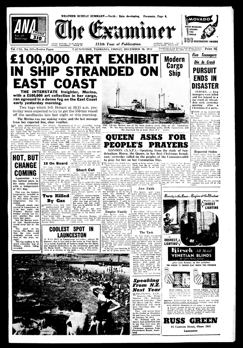 The front page of The Examiner, 26 December 1952. The Examiner (Launceston, Tas. 1900-1954) 26 December 1952 1. National Library of Australia. httpnla.gov.aunla.news-page4695719