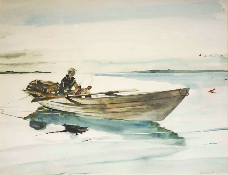 Andrew Wyeth (1917-2009), Lobster Man (Forrest Wall), 1948. Watercolor on paper. 19½ x 26½ in. Estimate on request. Offered in Wyeths World at Christie's in Private Sales