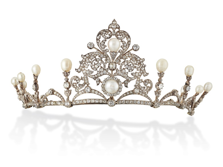 Late 19th-century natural pearl and diamond tiara  necklace. Round and drop shaped natural pearls, old and rose-cut diamonds, silver and gold, detachable tiara frame, 7.5 cm high, 36.2 cm as necklace Estimate £25,000-35,000. Offered in Important Jewels on 30 July 2020 at Christie's in London