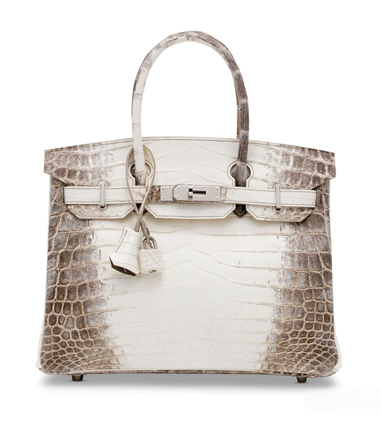 A rare, matte white Himalaya Niloticus crocodile Birkin 30 with palladium hardware, Hermès, 2020. 30 w x 22 h x 15 d cm. Estimate £60,000-80,000. Offered in Handbags & Accessories Online The London Edition, 3-17 November 2020, Online