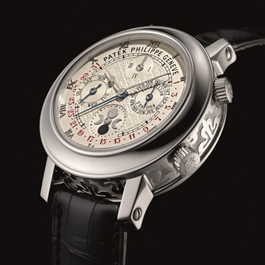 "Patek Philippe. A platinum double-dial wristwatch with twelve complications, including ""cathedral"" minute repeater, tourbillon, perpetual calendar with retrograde date, sky chart, moon phases, orbit display and sidereal time, sky moon tourbillon model, ref. 5002P, manufactured in 2012. Estimate HKD 8,000,000-10,000,000  USD 110,000-1,300,000. This lot is offered in Important Watches on"