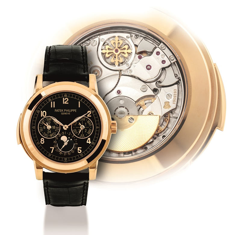 Patek Philippe. An 18k  pink gold automatic minute repeating perpetual calendar wristwatch with moon  phases, 24 hour, leap year indication, additional case back, ref. 5074, circa  2007. Estimate HKD 3,100,000-4,600,000  USD 410,000-590,000. This lot is offered in Important Watches on 29 May 2017 at Christie's in Hong Kong