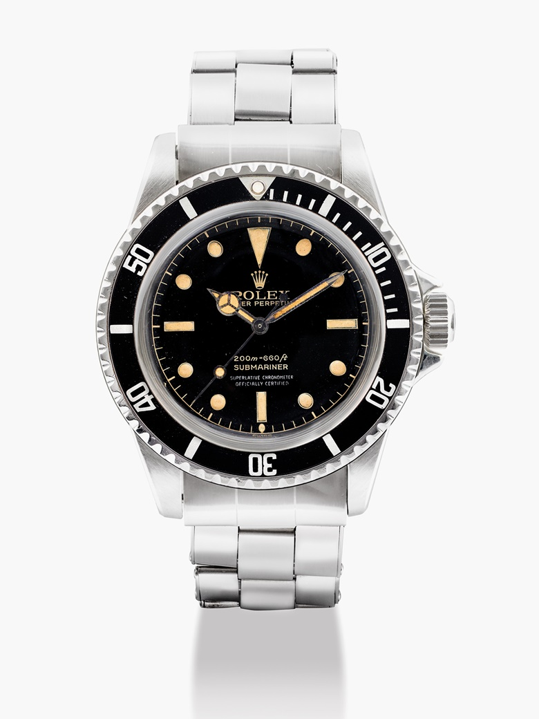 Rolex. A stainless  steel automatic wristwatch with bracelet, Oyster Perpetual, Submariner, ref.  5512, circa 1962. Estimate HKD 200,000-300,000   USD 26,000-39,000. This lot is offered in Important Watches on 29 May 2017 at Christie's in Hong Kong.
