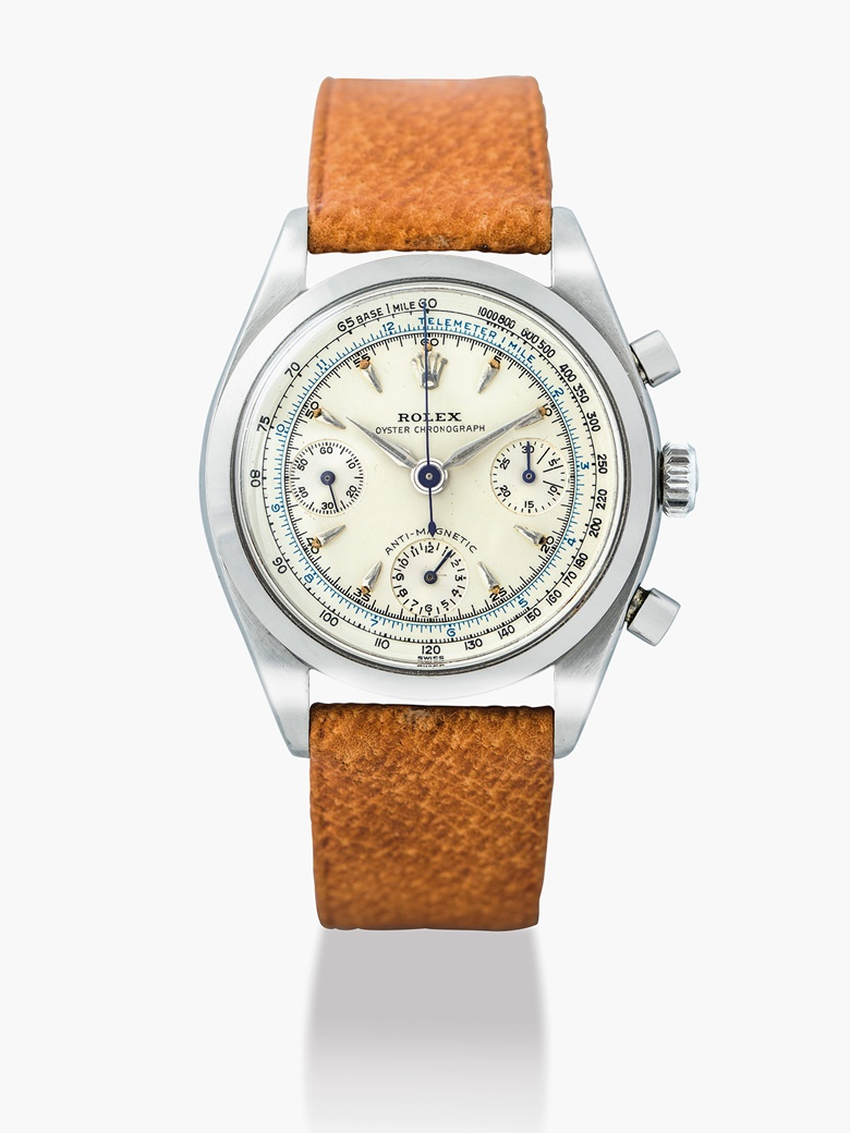 Rolex. A stainless  steel chronograph wristwatch, Oyster Chronograph, anti-magnetic, ref. 6234,  circa 1958. Estimate HKD 160,000-250,000   USD 21,000-32,000. This lot is offered in Important Watches on 29 May 2017 at Christie's in Hong Kong.