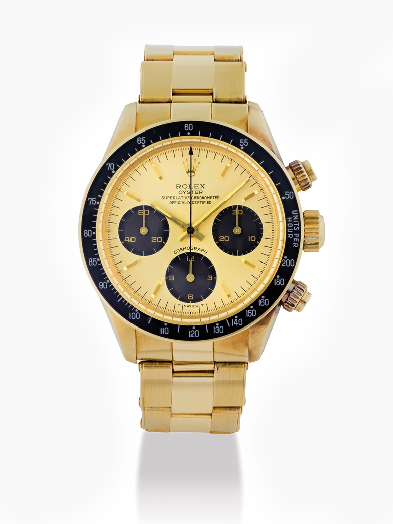 Rolex. An 18k gold chronograph wristwatch with bracelet, Oyster Cosmograph, Daytona model, ref. 6265, circa 1979. Estimate HKD 550,000 - 850,000  USD 72,000    - 110,000. This lot is offered in Important Watches on 29 May 2017 at Christie's in Hong Kong.