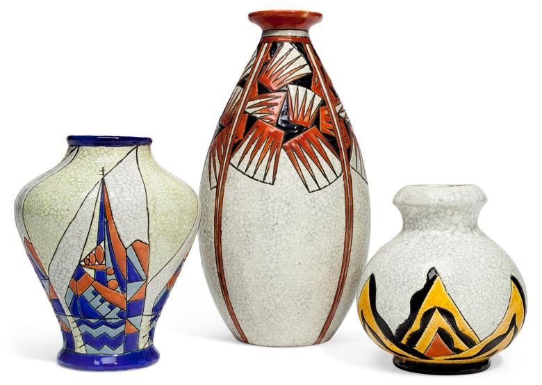 Boch Frères Keramis, three vases, 20th century. Offered in The Collection of Melva Bucksbaum Decorative Arts and Design, 16-23 August 2018, Online, and sold for $2,000