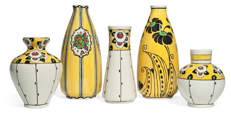 Boch Frères Keramis, five vases, first half of 20th century. This lot is offered in The Collection of Melva Bucksbaum Decorative Arts and Design, 16-23 August 2018, Online, and sold for $2,250