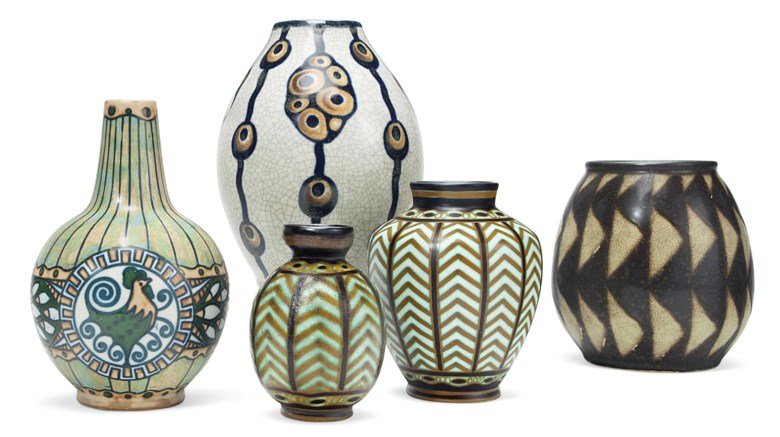 Boch Frères Keramis, five vases, 20th century. Offered in The Collection of Melva Bucksbaum Decorative Arts and Design, 16-23 August 2018, Online, and sold for $3,750