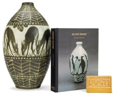 Boch Freres Keramis, a vase and a sign, 20th century. Offered in The Collection of Melva Bucksbaum Decorative Arts and Design, 16-23 August 2018, Online, and sold for $11,250
