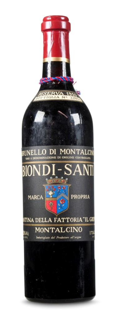 Named one of the 12 'Wines of the Century' by Wine Spectator — the only Italian wine on the list, Biondi Santi, Brunello di Montalcino Riserva 1955. Estimate $6,000-9,000. This lot is offered in Christie's Wine OnlineNYC, 27 March to 10 April 2018, Online
