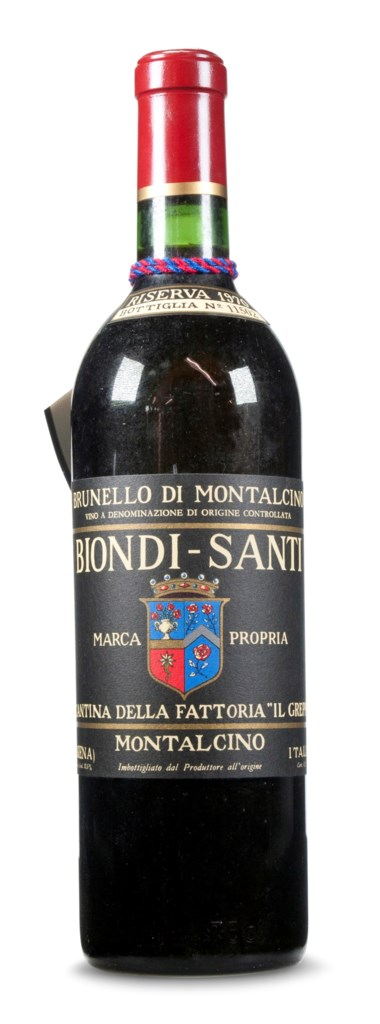 Graded 98 points by Franco Biondi Santi for its ability to age 98-plus years, Biondi Santi, Brunello di Montalcino Riserva 1970. Estimate $2,400-3,000. This lot is offered in Christie's Wine OnlineNYC, 27 March to 10 April 2018, Online