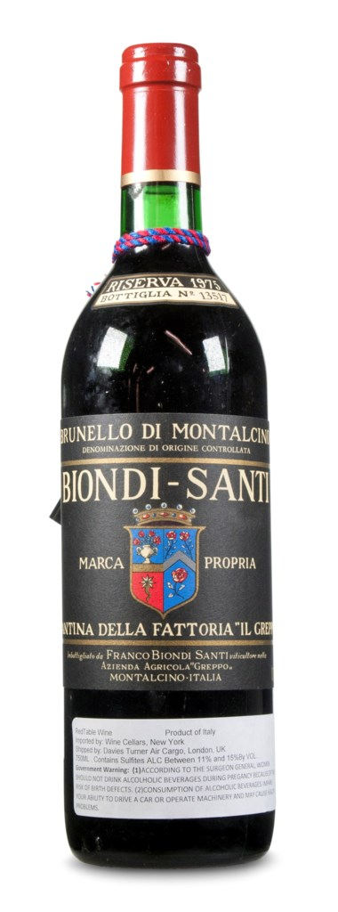 Listed as one of 'Italy's 50 Greatest Wines' by Decanter magazine, Biondi Santi, Brunello di Montalcino Riserva 1975. Estimate $1,500-2,000. This lot is offered in Christies Wine OnlineNYC, 27 March to 10 April 2018, Online