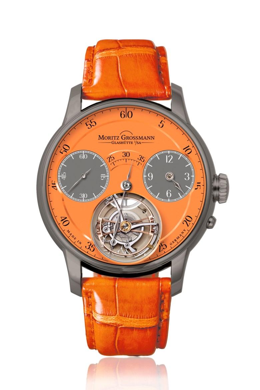Moritz Grossmann, Benu Tourbillon orange titanium, MG-002066. Diameter 44.5 mm. Estimate $60,000-100,000. This lot is offered in Christie's Watches Online Winter Holiday Sale, 27 November to 11 December 2018, Online