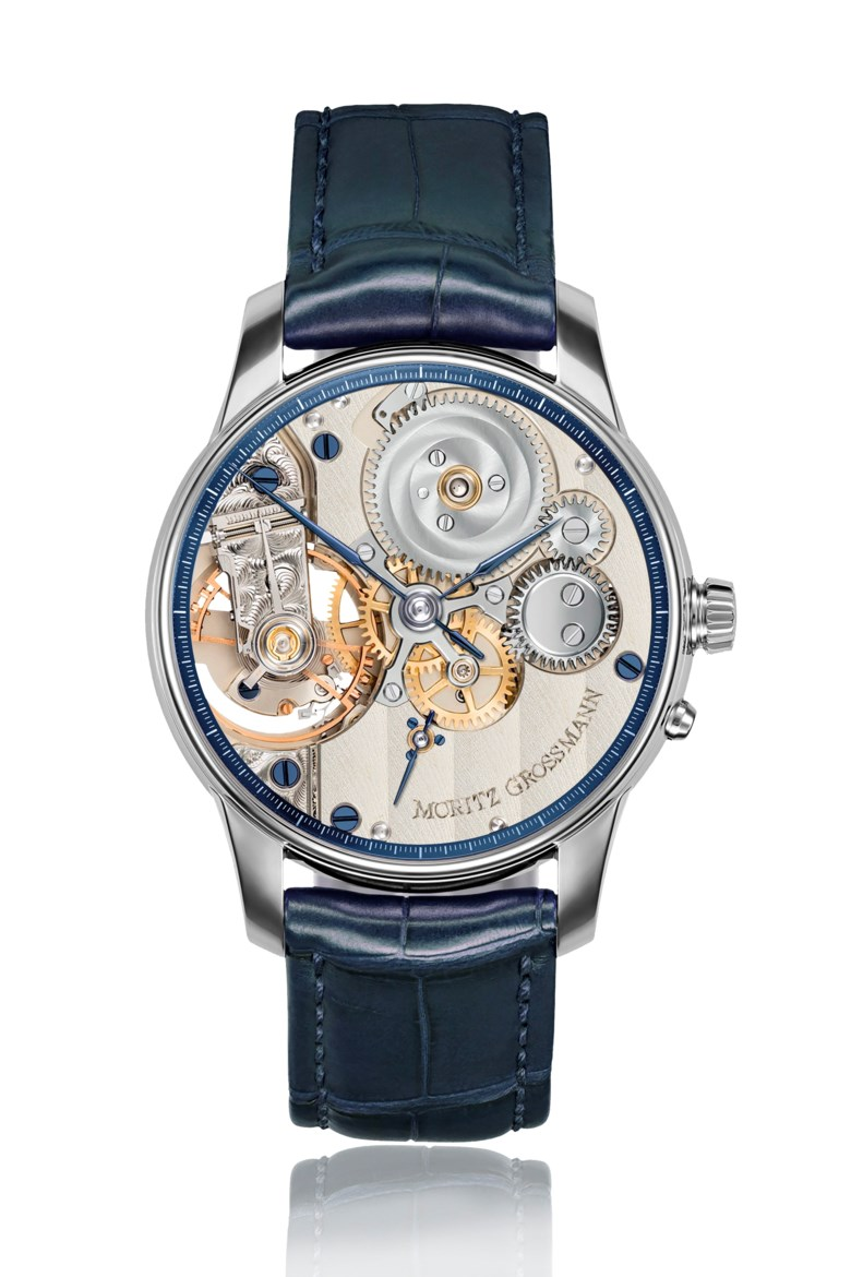 Moritz Grossmann, Atum Backpage platinum, MG-002101. Diameter 41 mm. Estimate $10,000-20,000. This lot is offered in Christie's Watches Online Winter Holiday Sale, 27 November to 11 December 2018, Online