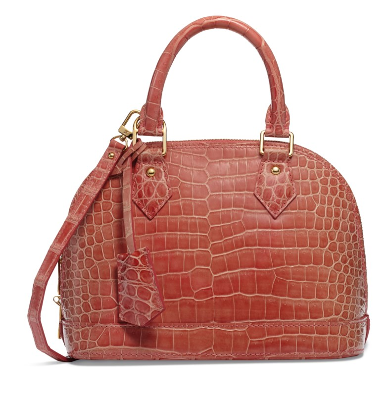 A shiny light pink crocodile Alma BB with gold hardware, Louis Vuitton, 2013. 24 w x 18 h x 11 d cm. Sold for $4,375, 20 Nov-5 Dec 2018, Online