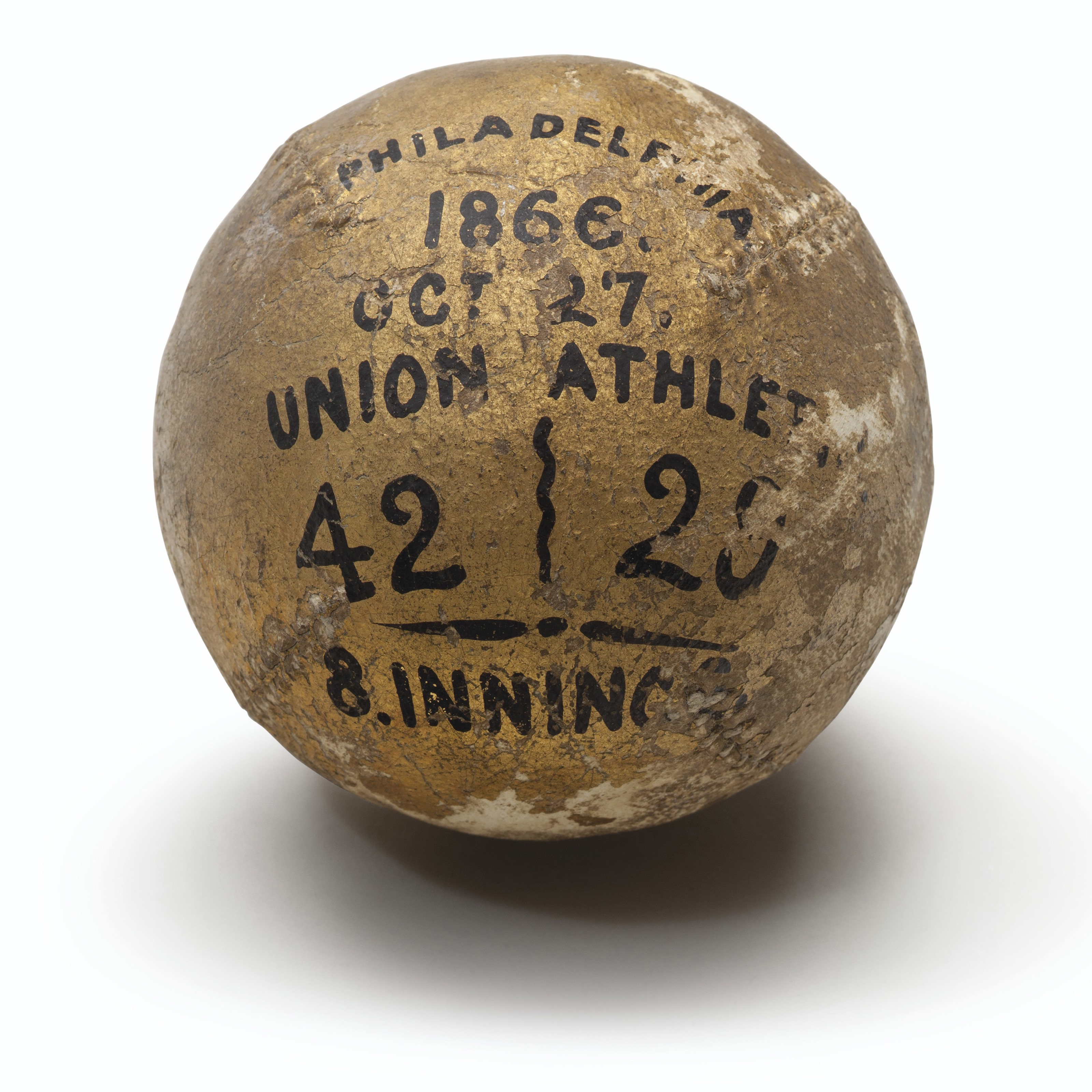 1866 Unions vs. Athletics trophy baseball. Estimate                    $10,000-15,000. This lot is offered in The Golden Age of Baseball, 29 March to 6 April 2018, Online